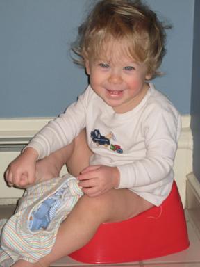 Leo, 15 1/2 months, happy on his potty